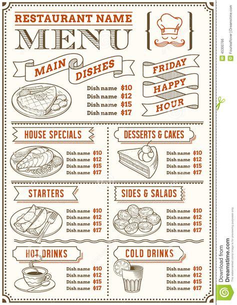 Snack Bar Menu Template by Restaurant Menu Template Stock Vector Image Of Flyer