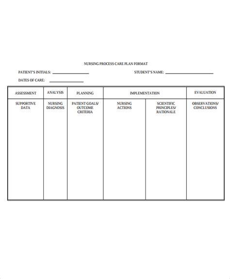 Nursing Care Plan Format Template 9 nursing care plan templates free sle exle