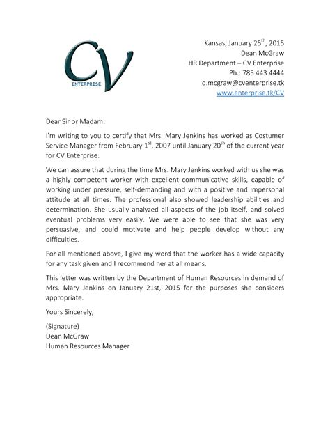 letter for recommendation letter of recommendation format sample template