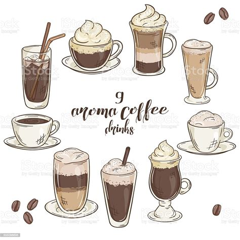 See more ideas about coffee drawing, coffee art, coffee illustration. Vector Illustration With Set Of Isolated Cup Of Coffee Drinks Stock Illustration - Download ...