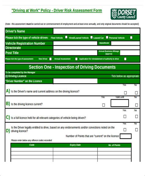 assessment forms