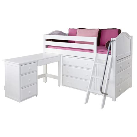 kicks low loft bed with dressers and desk