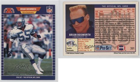 pro set  brian bosworth seattle seahawks football
