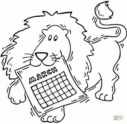 Coloring March Pages Lion Printable Calendar Seasons