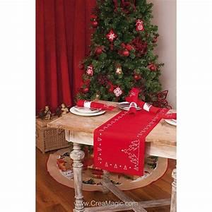 Table De Noel Traditionnelle : chemin de table en kit sapin de no l en broderie ~ Melissatoandfro.com Idées de Décoration
