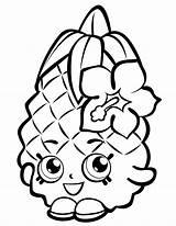 Pineapple Coloring Shopkin Fruits Crush sketch template