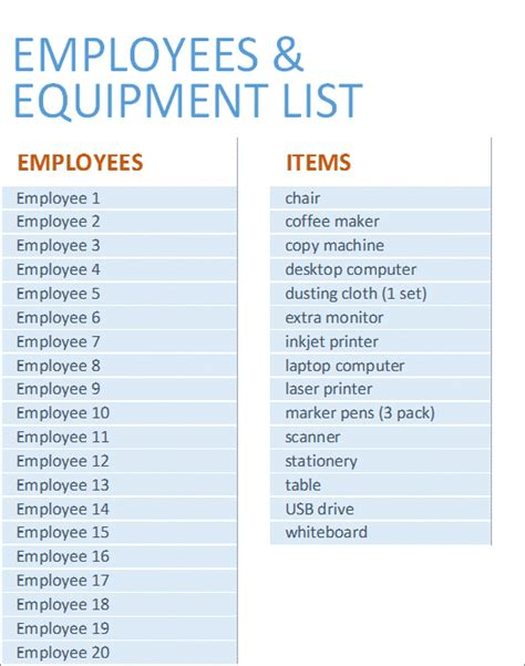 restaurant equipment list excel equipment inventory list excel business insights group ag