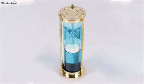 buy brass blue coloured water sand timer  india wooden