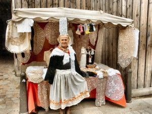 lady selling lace brittany region france