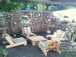 Salon De Jardin Terrasse : salon de jardin en palette sur une terrasse en pierre ~ Teatrodelosmanantiales.com Idées de Décoration