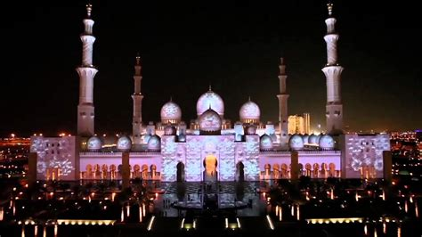 sheikh zayed mosque abu dhabi light show clip full youtube