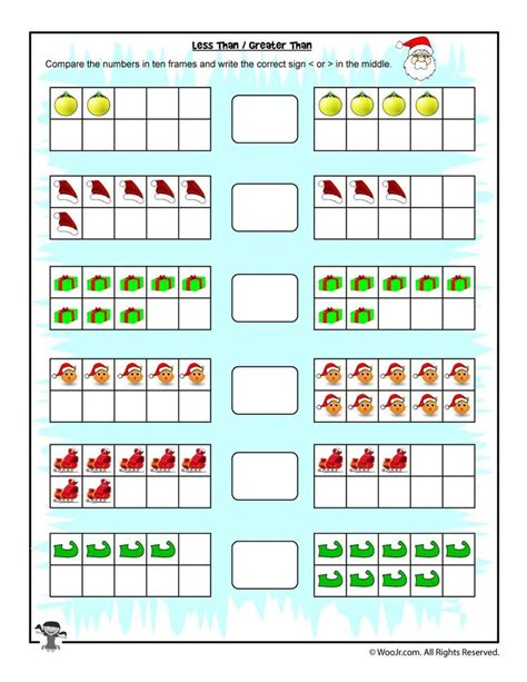 easy counting greater thanless  worksheet christmas
