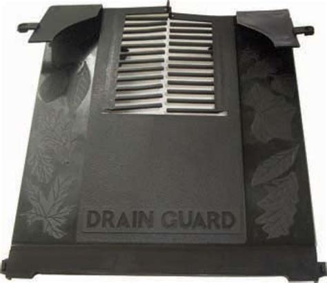 drain cover leaf guard half round guttering and down pipe available in white