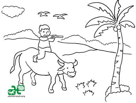 mewarnai gambar pemandangan khas indonesia alamendah s