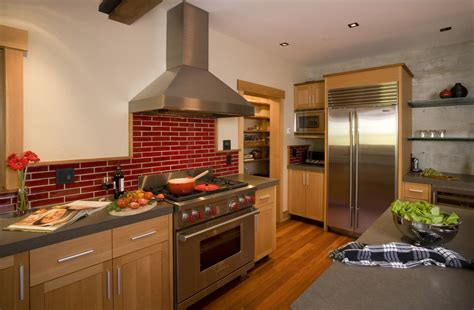 Red Brick Backsplash Kitchen Contemporary With Arch Built