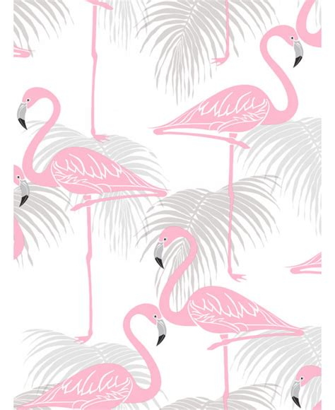 flamingo and palm leaves wallpaper pink and grey decor fd42215