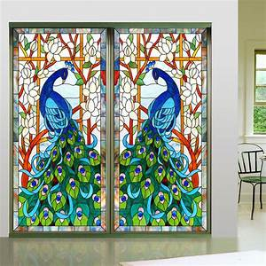 Stained Glass Window Film Peacock www imgkid com - The