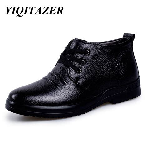 Yiqitazer Fashion Mens Ankle Boots Man Shoes Leather
