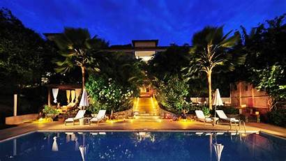 Pool Vacation Night Resort Background 1080p