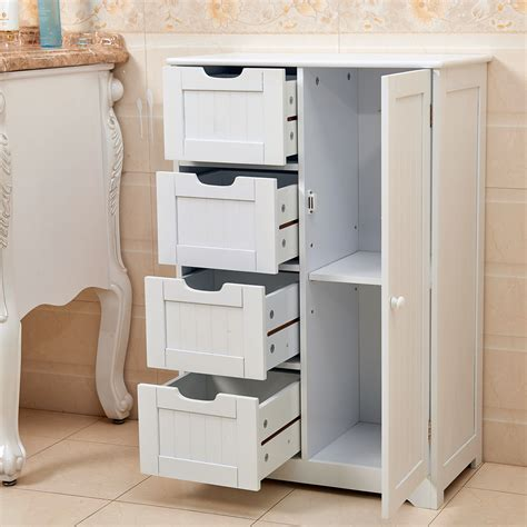 Wooden Bathroom Storage Cabinets by White Wooden 4 Drawer Bathroom Storage Cupboard Cabinet