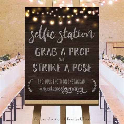 wedding  instagram wedding hashtag sign selfie