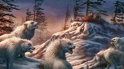 Wolves Hiding Eskimos Wolf Snow Fantasy Landscape