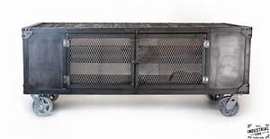 Industrial Rolling Media Cabinet / Wood & Steel – Real