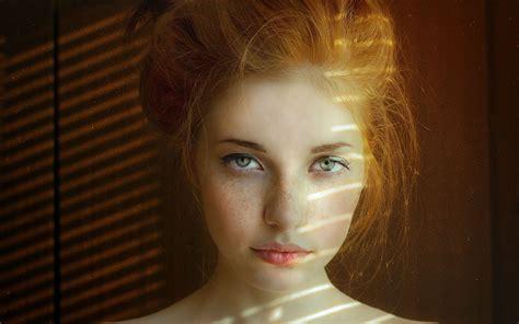 Wallpaper Face Women Redhead Model Portrait Green