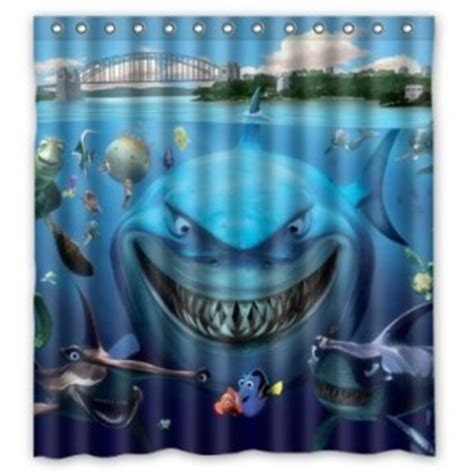 shark shower curtain finding nemo shower curtain cool stuff to buy and collect