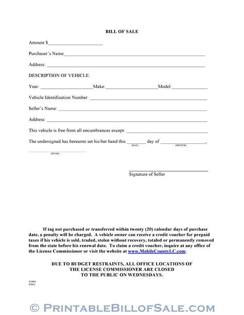 mobile county alabama motor vehicle bill  sale form