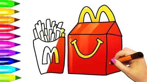 How To Draw Mcdonald's Burger And Fries Kids Happy Meal