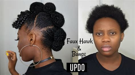 easy protective style faux hawk updo  afro bangs