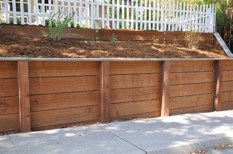 retaining wall wood wood retaining wall