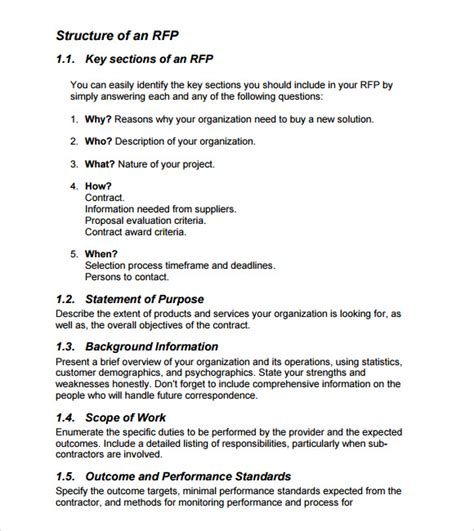 rfp template 9 rfp templates for free sle templates
