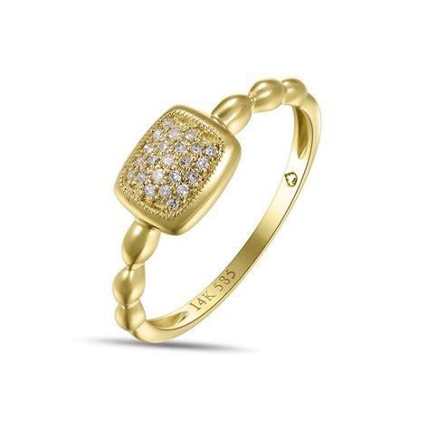 s yellow 14 karat square pave set fashion ring with
