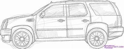 Suv Cadillac Escalade Draw Step Drawing Sketches
