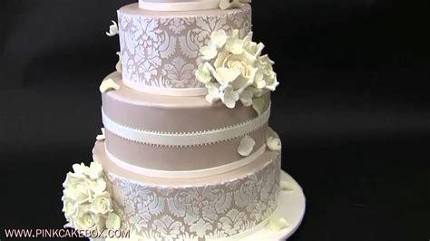 Hydrangea And White Rose Wedding Cake