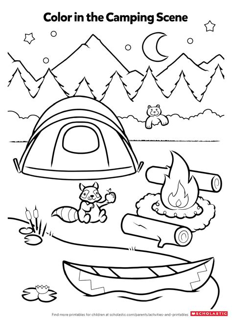 campfire coloring activity worksheets amp printables 673 | Color In Camping Scene Printable