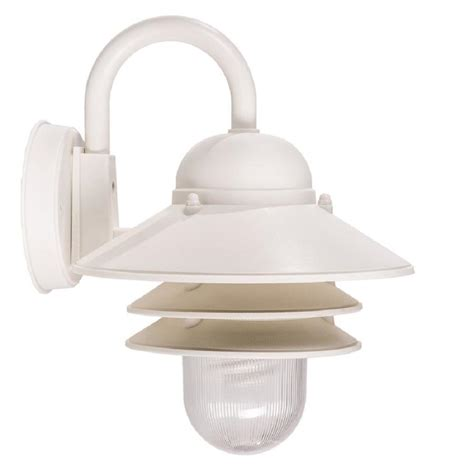 portfolio 13 in h white outdoor wall light at lowes com