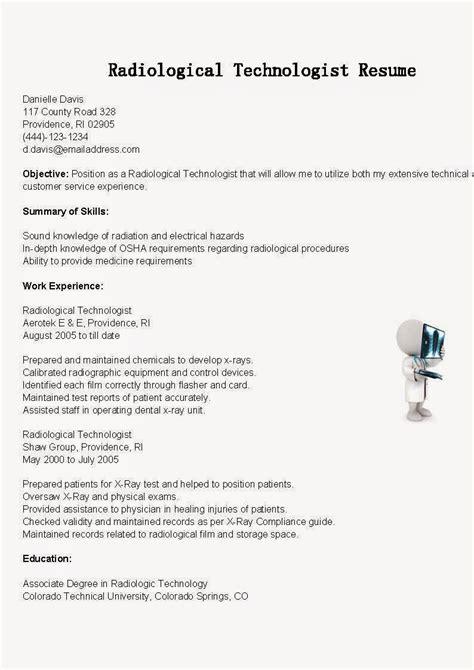 Technologist Resume by Radiologic Technologist Resume Cover Letter Resume Ideas