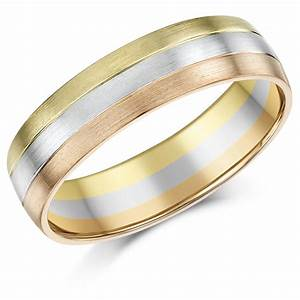 6mm 9ct gold 3 colour court shape wedding ring band 9ct With three gold wedding rings