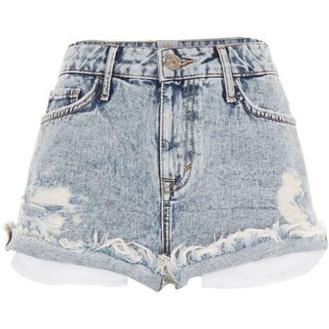 light blue jean shorts river island light acid wash distressed denim shorts in