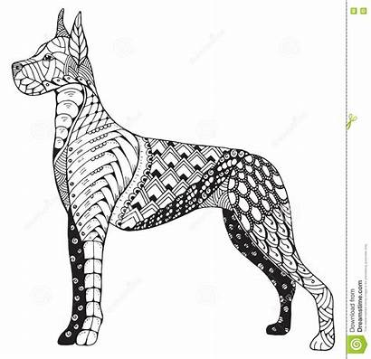 Dane Zentangle Dog Pencil Drawn Hand Vector