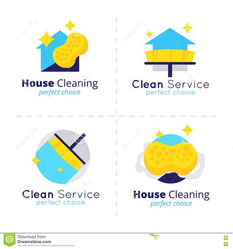 clean  housekeeping service logo vector set design