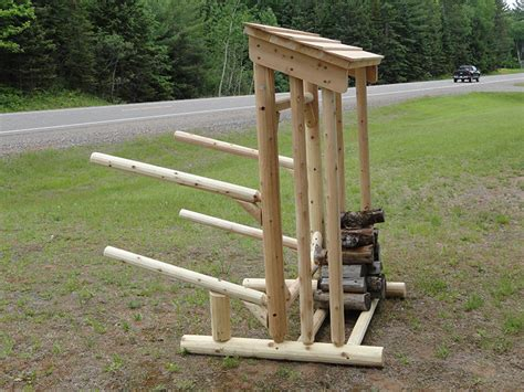 Outdoor Boat Storage Prices by 2 Place Log Kayak Rack Wood Storage Wood Shelter Kayak Rack