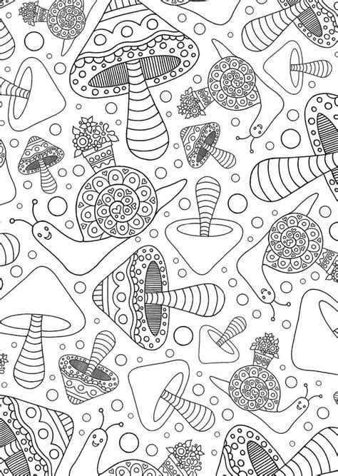 95 best Mushrooms + Toadstools Coloring Pages for Adults