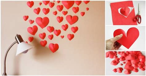 diy creative paper hearts wall decor