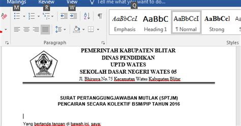 contoh surat pertanggung jawaban mutlak sptjm bsmpip