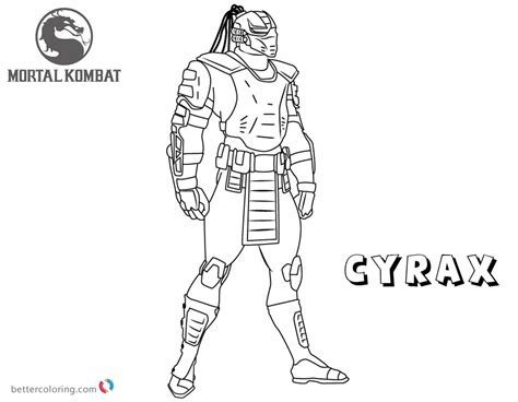 mortal kombat coloring pages cyrax  printable