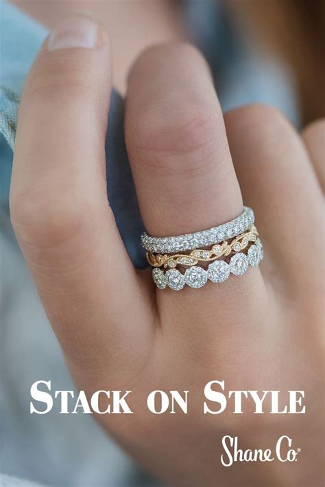 do you love the stacking ring trend as much as we do shaneco wedding rings 2019 rings